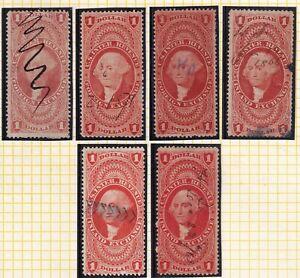 US STAMP REVENUE $1 1862-71 Revenue STAMPS COLLECTION LOT