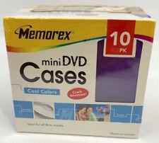 Memorex 10 pack Cool Colors Mini DVD Cases 8 CM Media Jewel Cases Factory Sealed