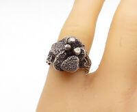 925 Sterling Silver - Vintage Modernist Sculpted Flower Band Ring Sz 8 - R15911