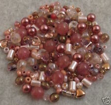 200+ VINTAGE DUSTY ROSE GLASS BEADS MIX CZECH+ Lot DOUA