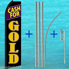 Cash For Gold Flutter Feather Flag +15' Pole + Mount Kit Swooper Vertical Banner