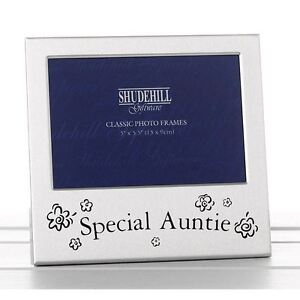 """5"""" x 3"""" Satin Silver Special Auntie Metal Photo Frame Birthday Mother's Day Gift"""