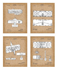 Airplane Patent Posters-Wright Brothers Patent Prints Old Antique Parchment Look