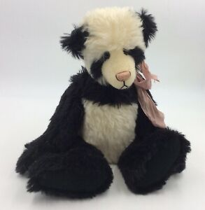 """OOAK 14"""" MINT Hand Made Artist Mary's Little Lamb Mohair Panda Teddy Bear"""