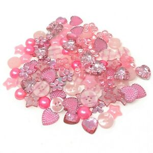 Pink 100 Mix Acrylic & Resin Buttons & Flatbacks For Cardmaking Embellishments