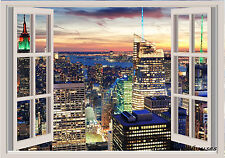 New York Sunset Window View Repositionable Color Wall Sticker Wall Mural 3 FT