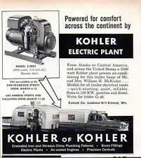 1960 Print Ad Kohler Electric Plant Pickup Truck Camper & Travel Trailer