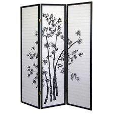 8 6 4 & 3 Panel Wood Shoji Room Divider Screen Bamboo Print