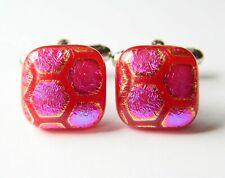 Genuine Dichroic Glass Hand Crafted Cufflinks - Red Honeycomb