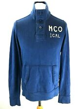 Hollister Para Hombre Suéter M Mediano Azul Algodón 1/4 botón