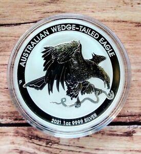 2021 Australian Wedge Tailed Eagle 1oz Silver Bullion Coin in capsule.