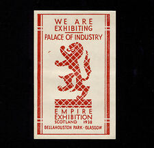 OPC 1938 Scotland British Empire Exhibition Poster Stamp Label MNH