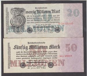 20&50 MILLIONEN MARK EXTRA FINE-VF BANKNOTES FROM GERMANY 1923 PICK-97-98