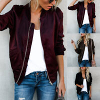 Vintage Women Stand-Up Collar Bomber Coat Zipped Casual Long Sleeve Jacket US