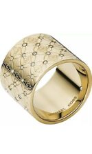 BRAND NEW MICHAEL KORS GOLD TONE LOGO PAVE CRYSTALS RING SIZE 8. MKJ4288