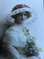 RPPC Tinted Antique Postcard Pretty Lady Big  Fun  Hat Yellow Flowers