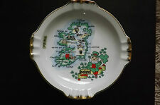 "CHINA ASHTRAY, MAP OF IRELAND 24KT GOLD EDGES HANDPAINTED 7.1/2"" USED"