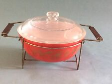 Vintage Pyrex Golden Leaf #404 Promotional Mixing Bowl with Lid and Cradle 4 Qt