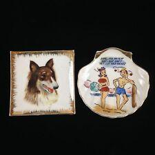 Set Of 2 Vintage Jewelry Trinket Ceramic Dish Plates Border Collie Racy 1940's