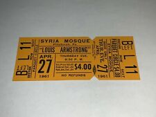 LOUIS ARMSTRONG 1961 UNUSED CONCERT TICKET SYRIA MOSQUE Pittsburgh JAZZ LOUIE 1