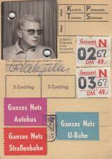 BVG Zeitkarte mit Passfoto von 1967 in Toperhaltung