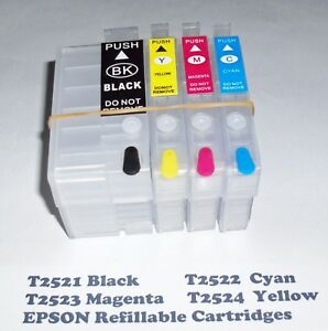 Refillable T2521 to T2524 Cartridges for WF-3620 WF-3640 WF-7110 WF-7610 WF-7620