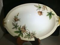 Meito China Oval Serving Platter - Wood Rose Pattern - Gold Trim - Large Meat
