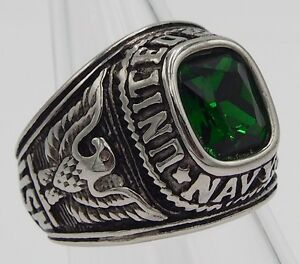 MEN RING EMERALD STAINLESS STEEL SILVER US MILITARY SOLDIER SQUARE EAGLE SIZE 9