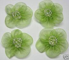 "1"" Organza Beaded Flower Sewing Appliques/Trim x 60 Green"