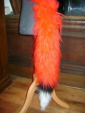 Bright Red Fancy Dress Fox Tail White/Black Luxury Faux Fur Clip On Animal Tail