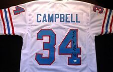 EARL CAMPBELL OILERS SIGNED AUTO WHITE JERSEY HOF 91 JSA