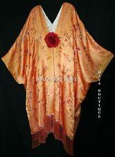 Peach Embroidered Silk Kimono Caftan Duster Opera Coat Maya Matazaro