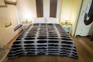 COZY REAL Full Skin Rex Chinchilla color fur Blanket fur comforter,fur throw