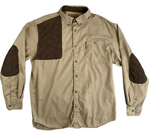 North River Outfitters Brown RH Shooting Shirt Elbow Shoulder Patches Men's Sz L