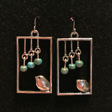 Silver Bird in Window Handmade Earrings with Picasso Turquoise Czech Glass Beads