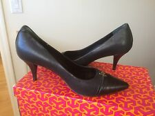 Women's shoes Tory Burch FRANCIS Black leather croco cap toe heels pumps Sz 6
