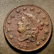 1831 Large Cent Coronet Head 1c Large Letters N-9 High Grade XF+ Details