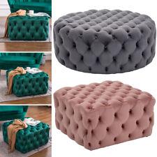 Large Footstool Chesterfield Button Seat Bench Stool Ottoman Pouffe Stool Velvet