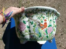 Antique Vtg Chinese Qing Tongzhi Famille Rose Rooster Planter Jardiniere Pot