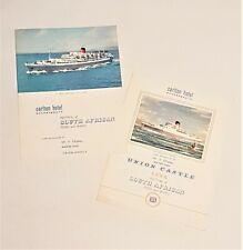 Union Castle Line & Carlton Hotel Bournemouth Menu Cards Feb 1967