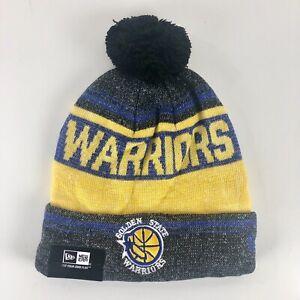 New Era Golden State Warriors Gold Sport Beanie Pom Knit Skull Cap Tobogan