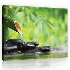 CANVAS Wandbild Leinwandbild Bild  Stein Wasser Blumen SPA Bambus  3FX11407O1