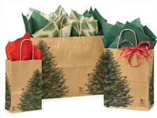 125 Evergreen Christmas Trees Winter Holiday Paper Gift Bags 3 sizes Recycled