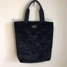 Victoria Secret Tote Handbag Shoulder Bag Black Velvet Chevron stitching