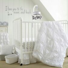 Levtex Baby Crib Quilt Bedding Nursery White Ruched Rosette Pintuck Blanket