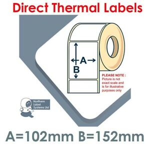 102mm x 152mm WHITE Direct Thermal Labels fits small Zebra Type Printers