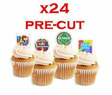 happy retirement X24 stand up cup cake toppers wafer paper *precut*