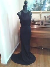 11a582797aee St John Black Long Full Length Knit Wool Floral Stretch Gown Dress 6 Medium