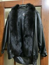 Tibor Genuine Leather and Natural Fox Fur Collar Women's Coat Black
