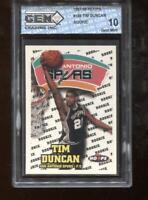 Tim Duncan RC 1997-98 Hoops #166 HOF Spurs Rookie GEM MINT 10